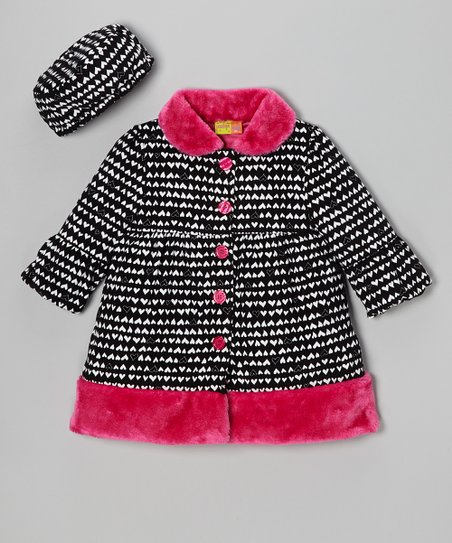 Black & Pink Heart Swing Coat & Hat - Girls