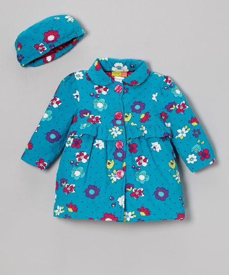 Turquoise Floral Coat & Hat - Infant