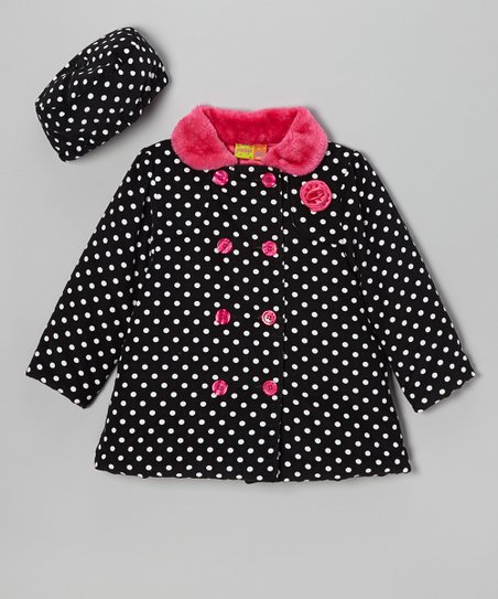 Black & Pink Corduroy Polka Dot Swing Coat & Hat - Girls