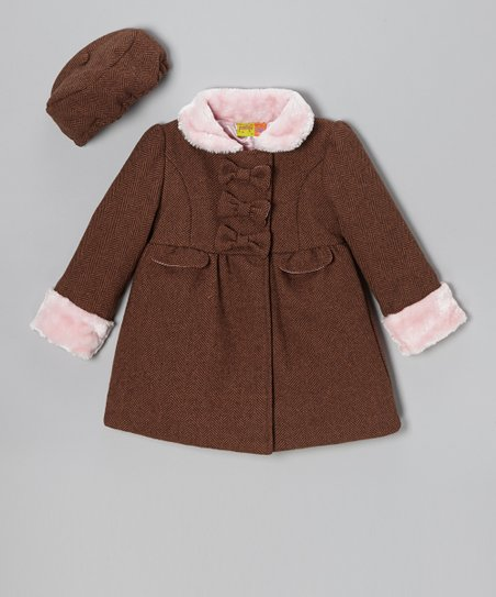Brown & Pink Bow Wool-Blend Coat & Hat - Girls