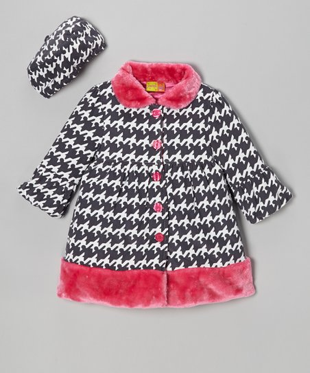 Gray Houndstooth Coat & Hat - Girls