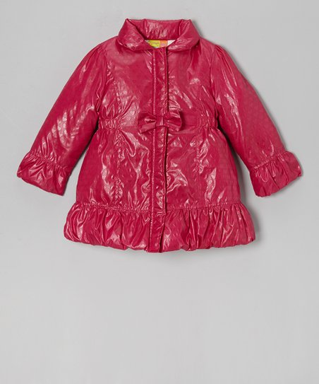 Pink Heart Puffer Coat - Girls