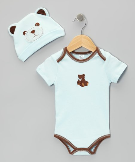 Blue Teddy Bear Beanie & Bodysuit - Infant