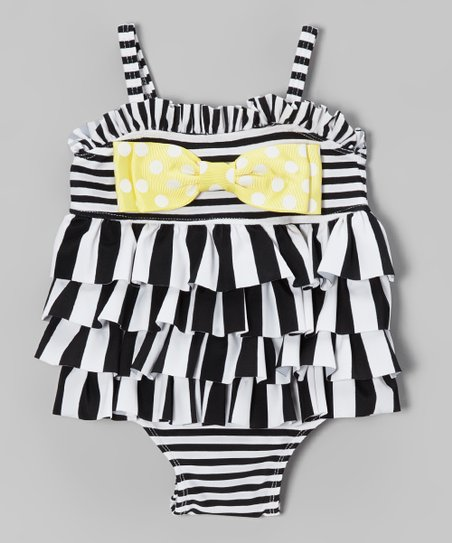 Black & White Stripe Ruffle One-Piece - Infant, Toddler & Girls