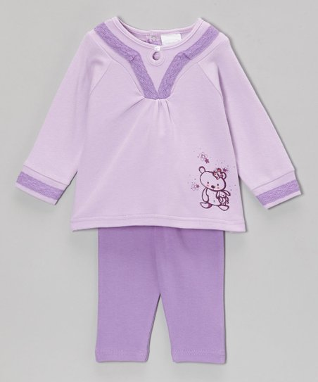 Lilac Cuddle Bear Keyhole Tunic & Leggings - Infant