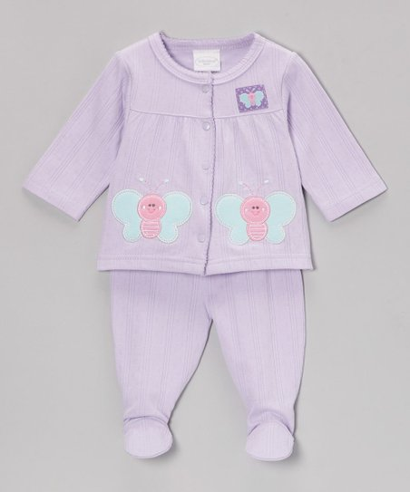 Lilac Happy Butterfly Cardigan & Footie Pants - Infant