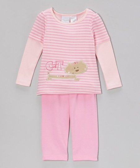 Pink Stripe 'Cat' Layered Top & Pants - Infant