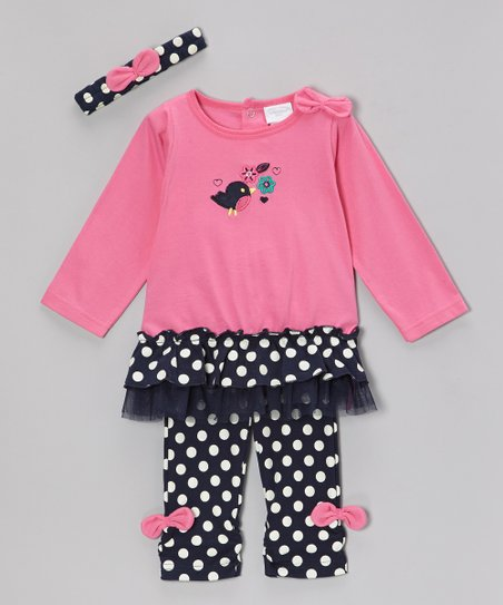 Fuchsia Flower Bird Ruffle Top Set - Infant