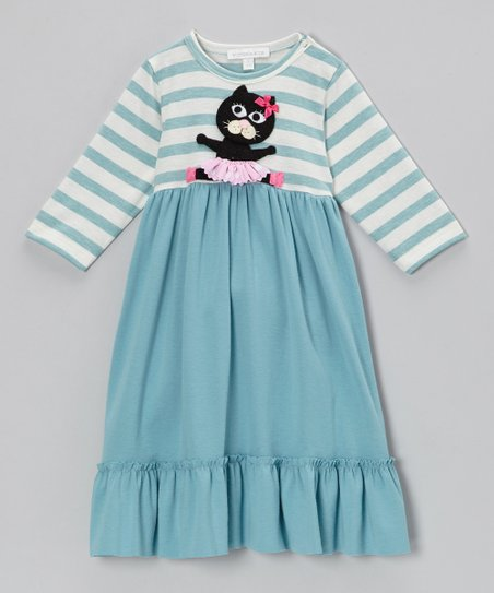 Aqua Stripe Cat Swing Dress - Infant, Toddler & Girls