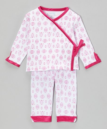 Pink Raspberry Damask Wrap Top & Pants - Infant
