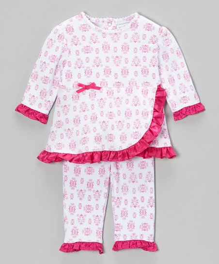 Pink Raspberry Damask Ruffle Top & Pants - Infant