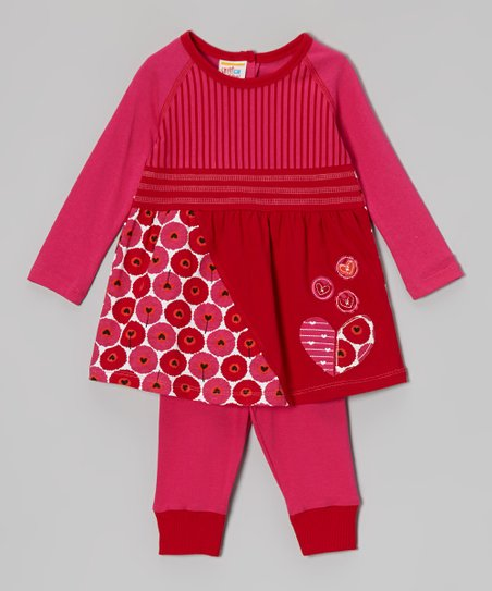 Red Butterfly Heart Dress & Leggings - Infant, Toddler & Girls