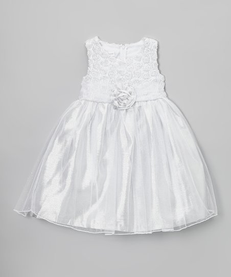 Silver Rosette A-Line Dress - Girls