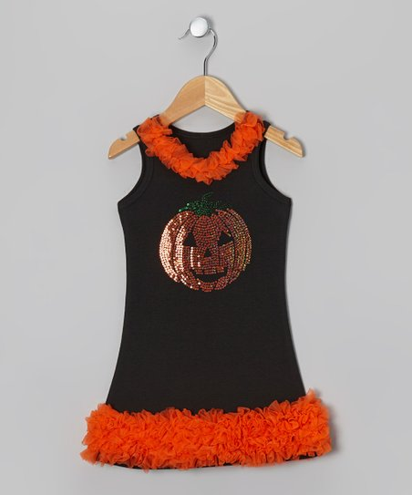 Orange Sequin Pumpkin Shift Dress - Toddler