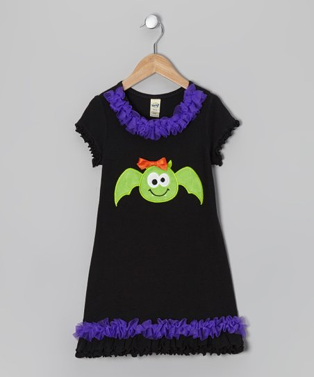 Black & Purple Bat Shift Dress - Infant, Toddler & Girls