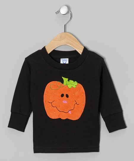 Black Dimple Dot Pumpkin Tee - Infant, Toddler & Girls