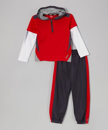 True Red Motion Layered Hoodie & Sweatpants - Boys
