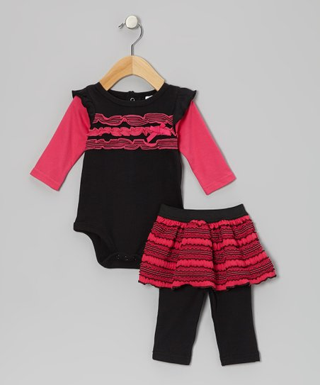 Black & Hot Pink Ruffle Bodysuit & Skirted Leggings - Infant
