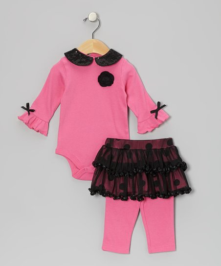 Pink Peter Pan Bodysuit & Polka Dot Skirted Leggings - Infant