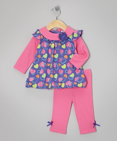 Purple Heart Bubble Tunic & Bow Leggings - Infant