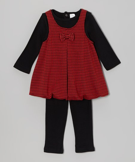 Wine Gingham Dress & Leggings - Infant