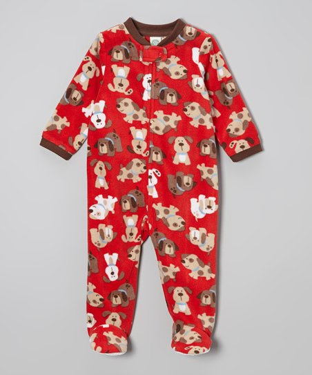 Red Dog Fleece Footie - Infant