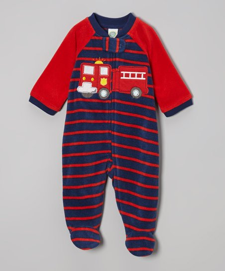 Navy & Red Stripe Fire Truck Footie - Infant