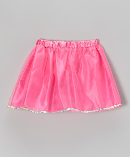 Neon Pink Sequin Skirt - Girls