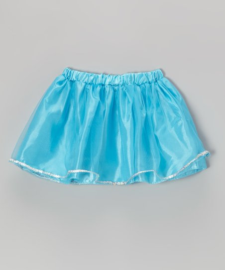 Neon Turquoise Sequin Skirt - Girls
