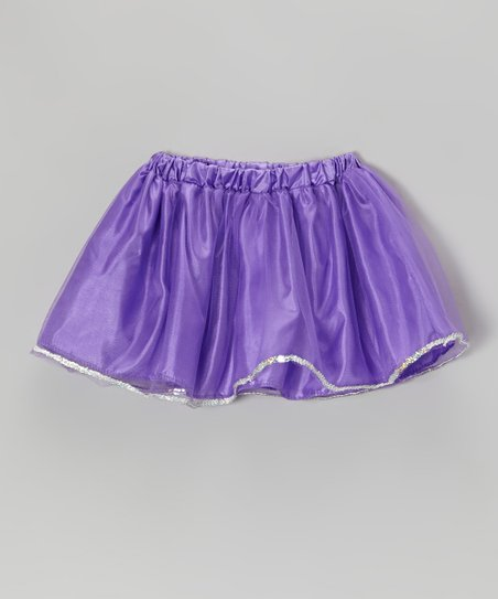 Neon Purple Sequin Skirt - Girls