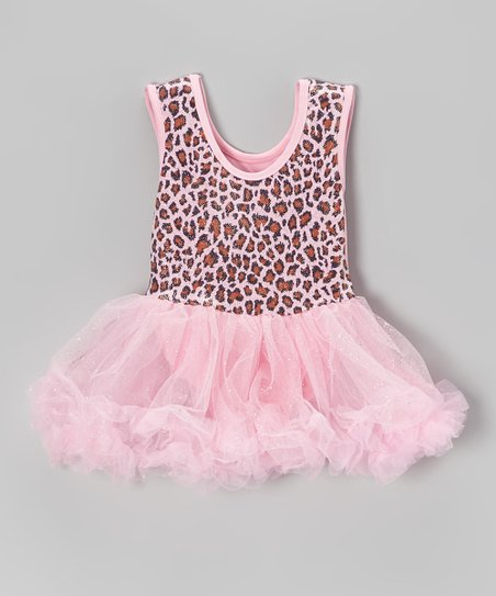 Pink Leopard Glitter Skirted Leotard - Infant
