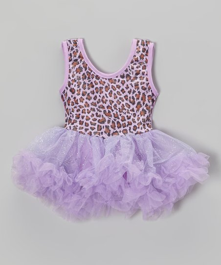 Lilac Leopard Glitter Skirted Leotard - Infant