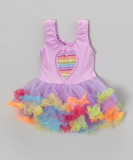 Lilac Rainbow Heart Skirted Leotard - Infant