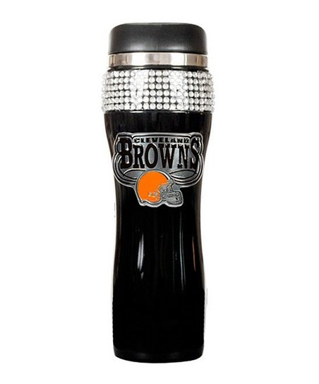 Cleveland Browns Black Rhinestone Travel Tumbler
