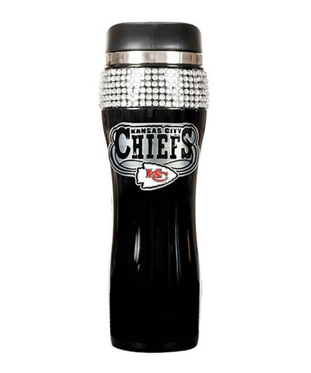 Kansas City Chiefs Black Rhinestone Travel Tumbler