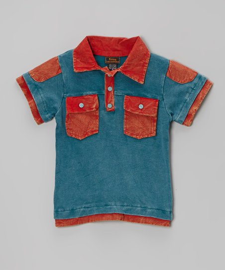 Red & Green Two-Pocket Polo - Boys