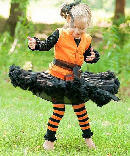 Orange & Black Stripe Ruffle Tights - Infant & Toddler