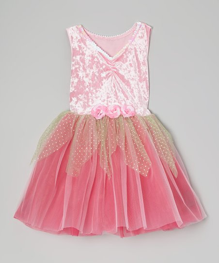 Light Pink & Fuchsia Velvet Sequin Dress - Toddler & Girls