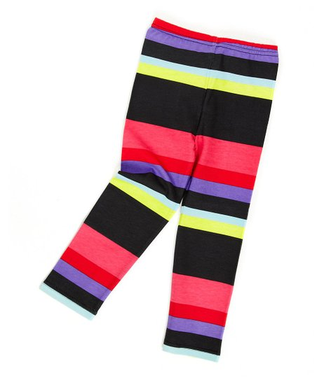 Black & Pink Stripe Leggings - Infant, Toddler & Girls
