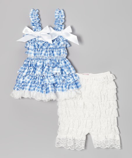 Blue Gingham Ruffle Dress & Lace Leggings - Infant & Toddler