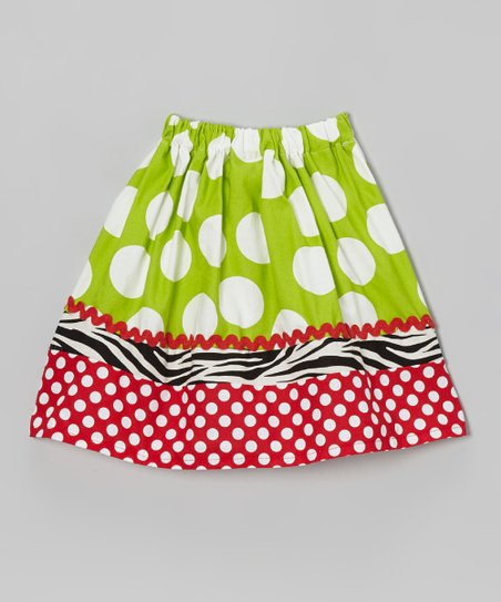 Green & Red Polka Dot Skirt - Infant, Toddler & Girls