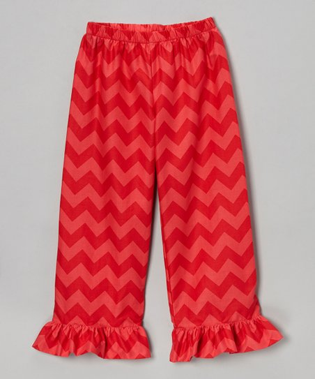 Red Zigzag Ruffle Pants - Infant, Toddler & Girls
