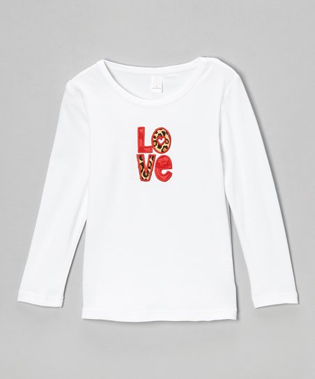 White & Red Leopard 'Love' Tee - Infant, Toddler & Girls