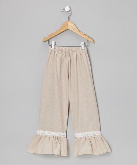 Khaki Lace Ruffle Pants - Toddler & Girls