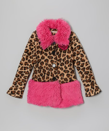 Tan Sassy Leopard Shaggy Coat - Toddler & Girls