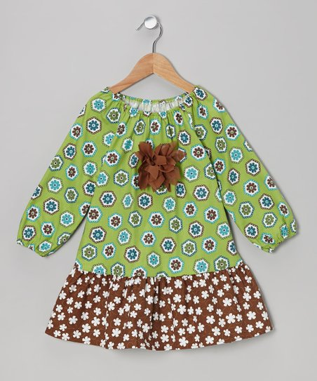 Green Flower Peasant Dress - Toddler