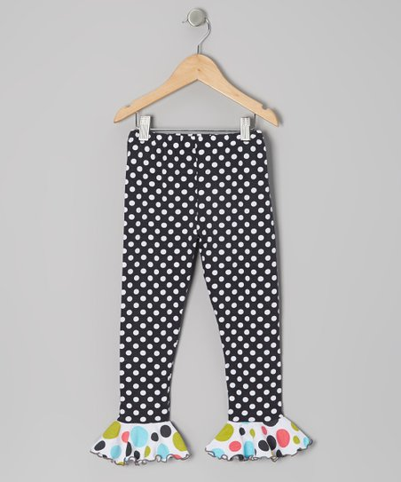 Charcoal Polka Dot Ruffle Leggings - Toddler & Girls