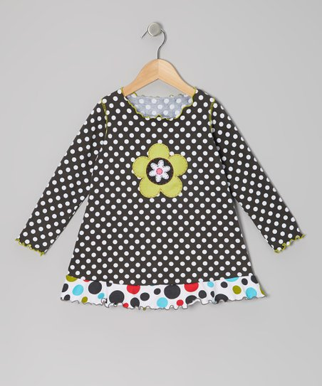 Charcoal Polka Dot Ruffle Top - Toddler & Girls