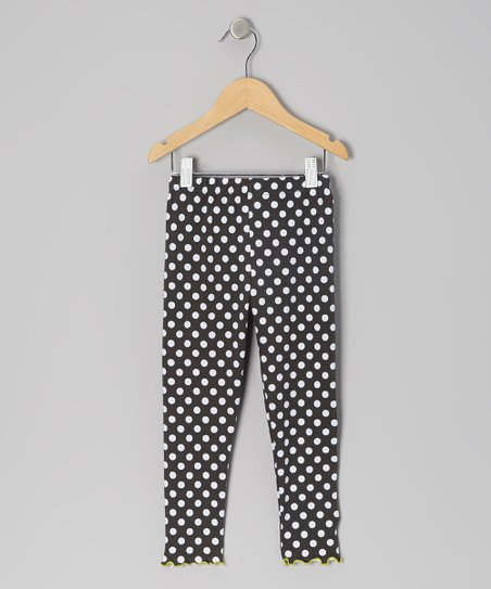 Charcoal Polka Dot Leggings - Girls