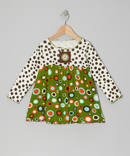 Brown & Green Circle Polka Dot Top - Toddler & Girls